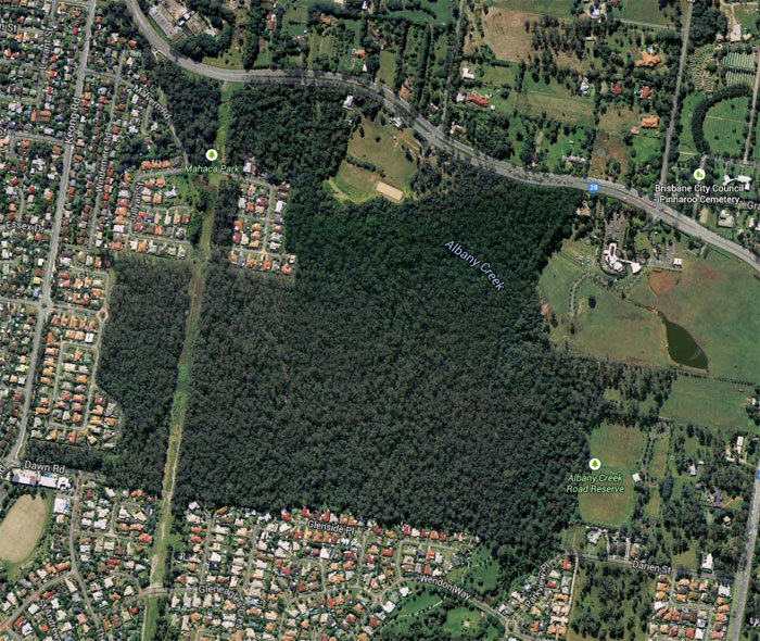 Aerial view of the Dawn Road Reserve at Albany Creek