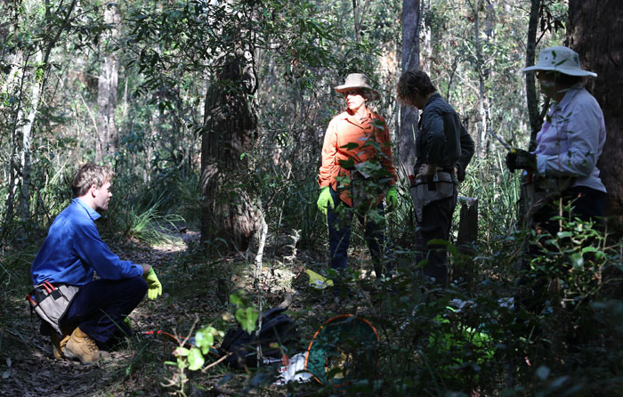After arriving at the entrance to Dingley Dell, a group of Dawn Road Reserve Bushcare volunteers discuss the best plan of action.